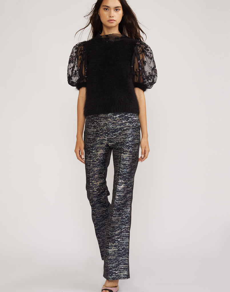Full front view of the metallic brocade flare pant.