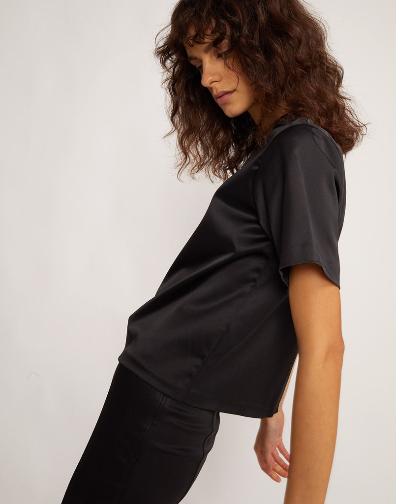 Side view of model wearing Rush Stretch Satin T-Shirt.
