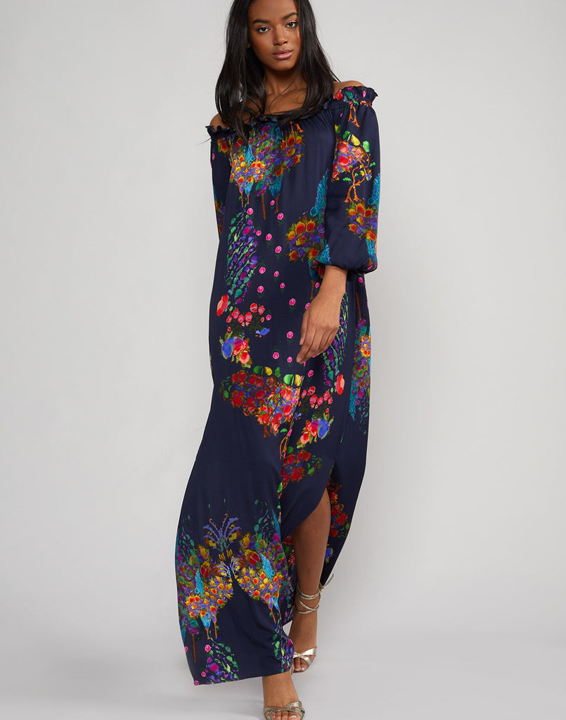 Full front view of the Roseland Off Shoulder Dress