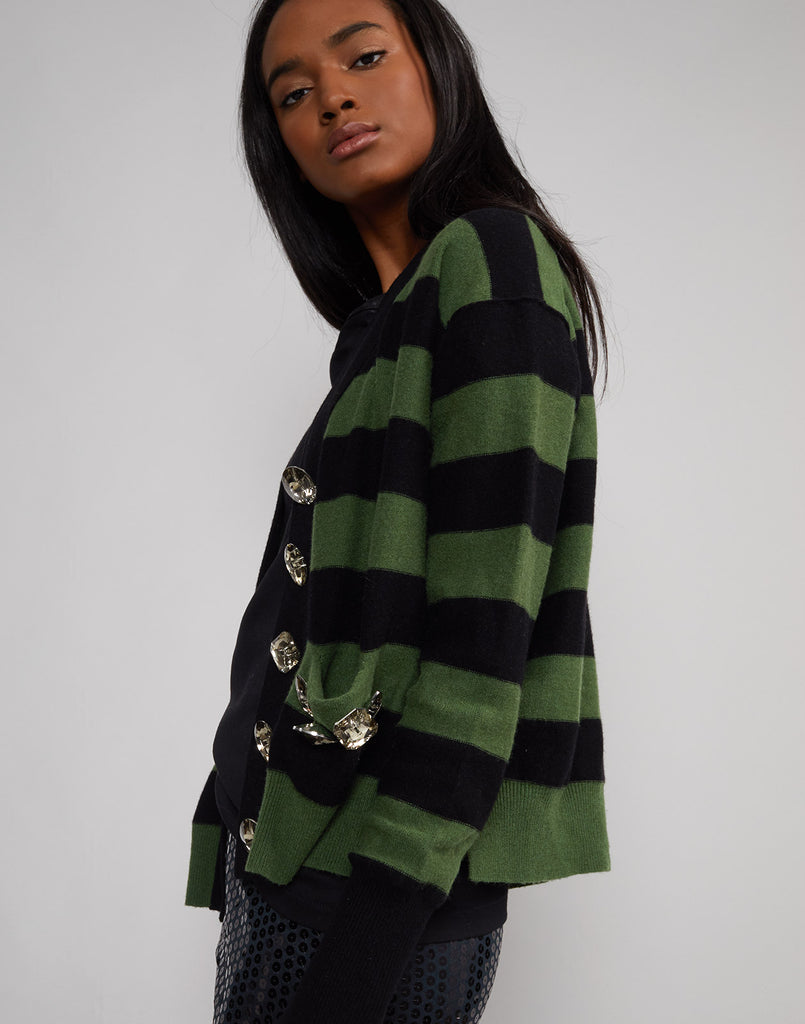 Side view of the green an black Monroe jeweled sweater.