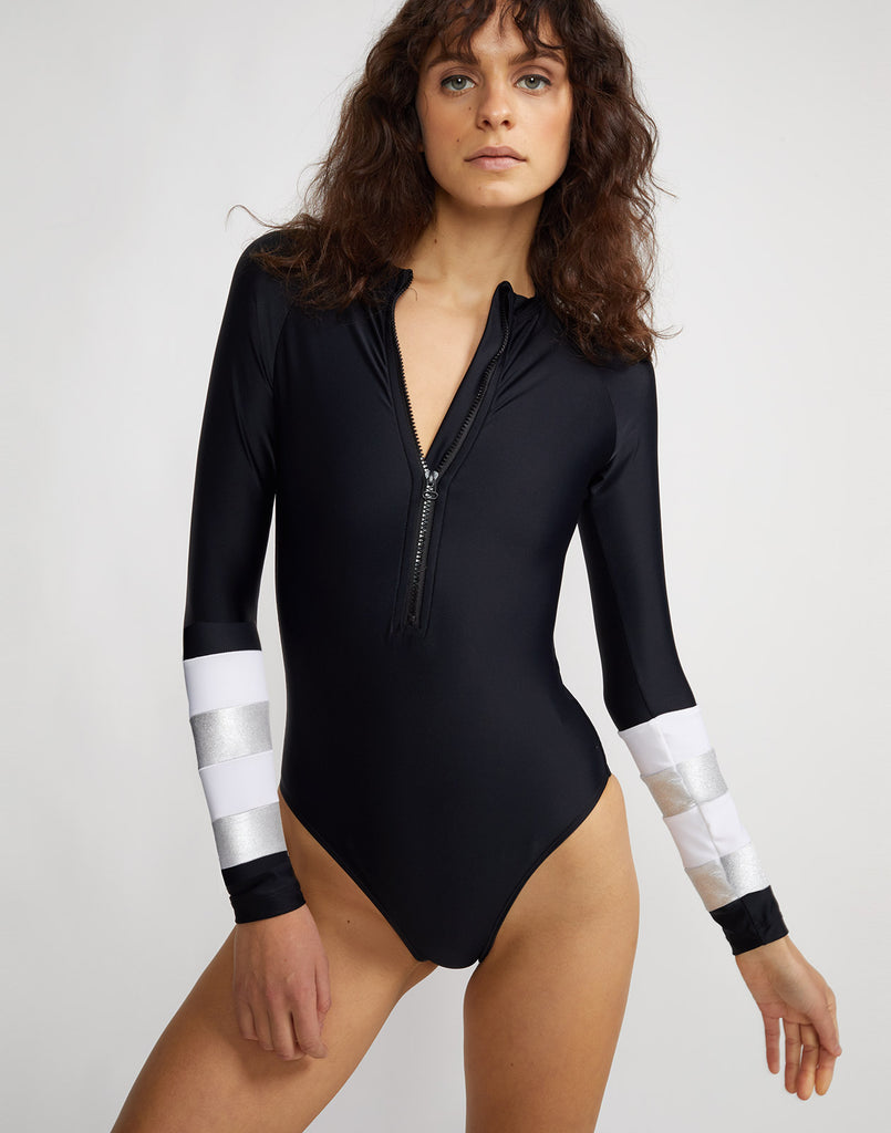 Silver stripe surfsuit with front zip.