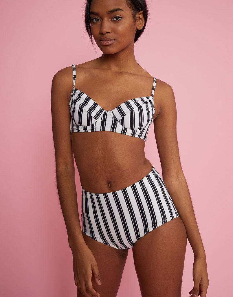 Front view of high rise bikini bottom with black and white stripes