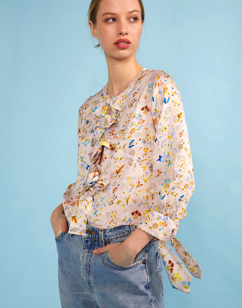 Side view of the Tennessee Tie Front Floral Top