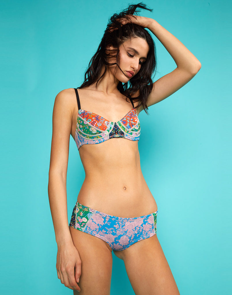 Close up view of model wearing London Floral Bikini Top with London Floral Bikini Bottom.