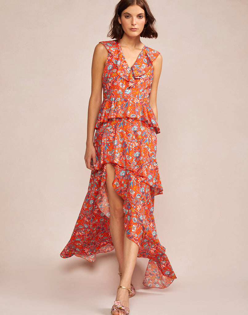 Alternate full view model wearing Savannah Tiered Maxi Dress