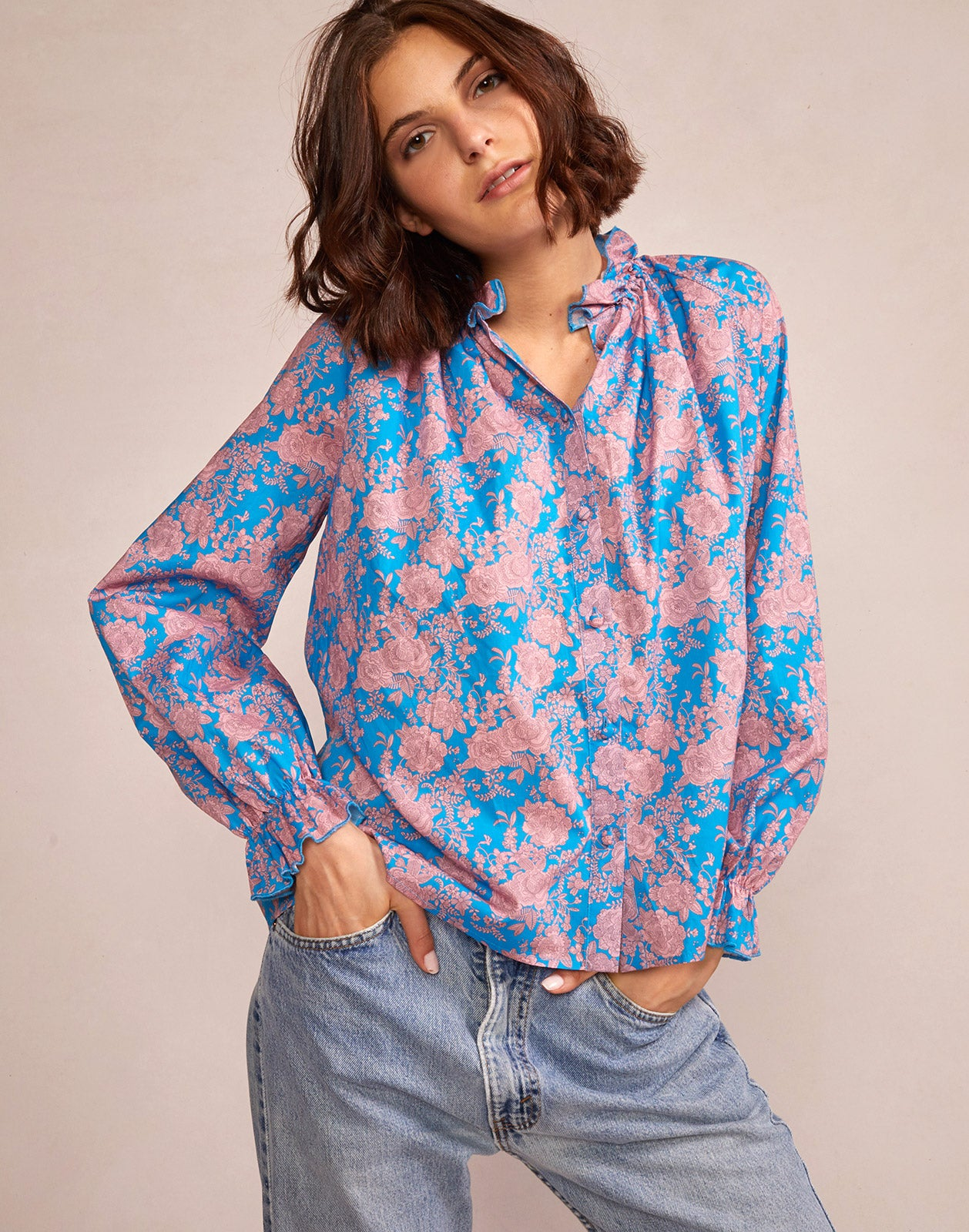 Model wearing Floral Cotton Waterfall Top