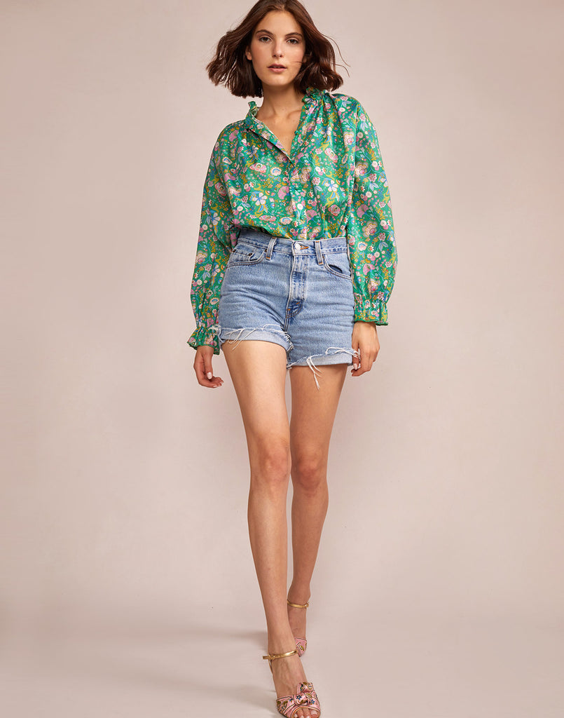 Alternate full view model wearing Floral Cotton Waterfall Top