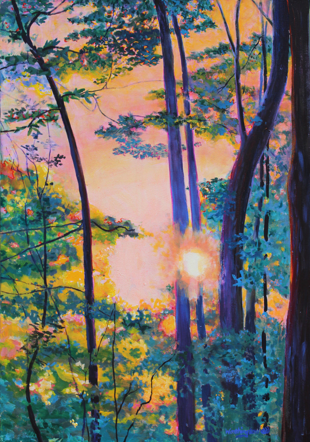 Painting of Sun shinning through colorful trees with a back lit glow