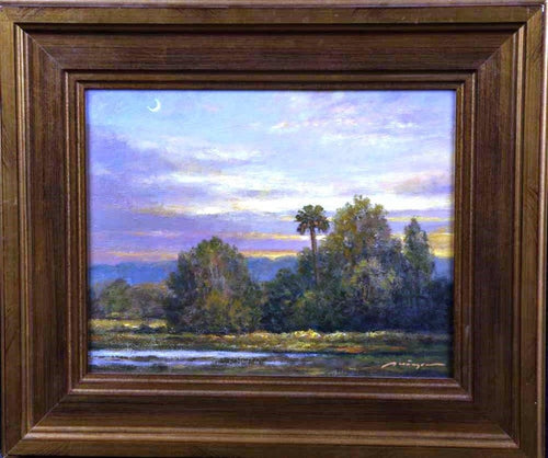 Lowlands Landscape painting southeastern U.S. Lake Trees sky