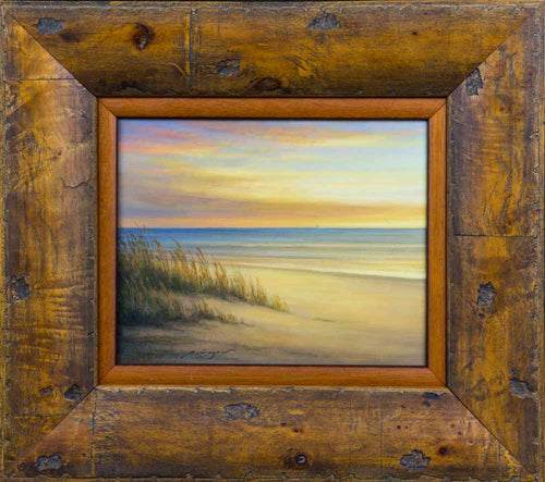 Oil painting of beach with sea oats and sand dunes bright blue water and colorful shy