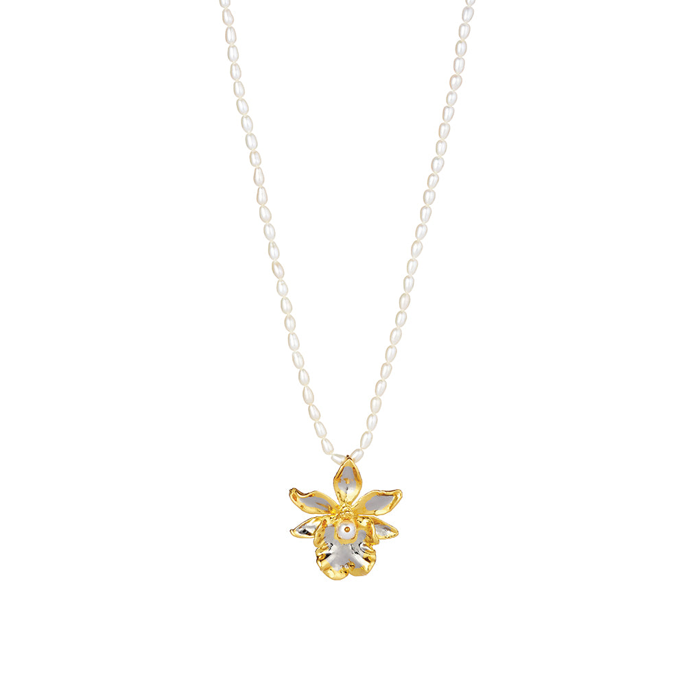 Jubilee Orchid necklace –24k gold-plated natural orchid with freshwater pearls