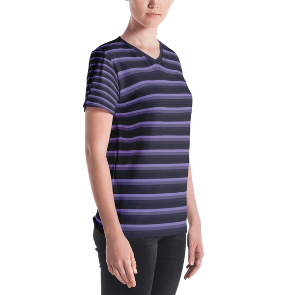 Moody Striped Women's V-neck