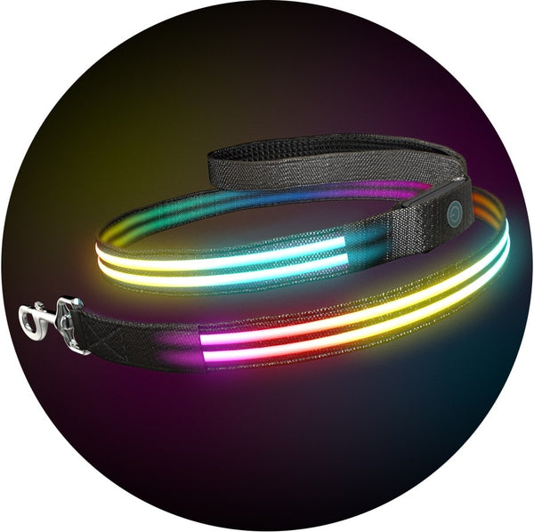 Ultimate Dual Rainbow K9 Karma Light Up LED Dog Leash