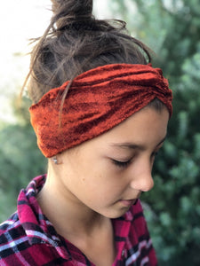 Rust Crushed Velvet Luxe Twist Headband