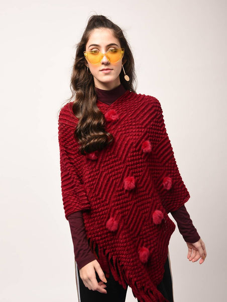 Aiyra Red Color wollen Pom Pom Detail Fringed Edge Poncho $ AR15801892_free size