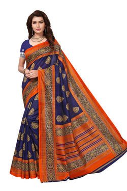 16TO60TRENDZ Blue Color Printed Bhagalpuri Silk Saree $ SVT00490