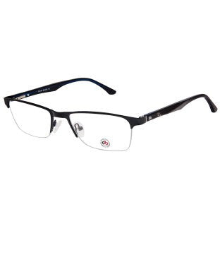 David Blake Matte Black Rectangular Half Rim EyeFrame
