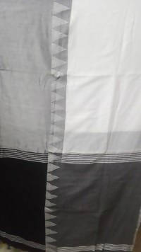 Festive Buzz Off White & Black Cotton Handloom Sarees $ 1415