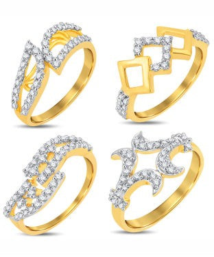 Sukkhi Valentine Collection Stylish Gold & Rhodium Plated CZ Combo With Rose Box For Women Pack Of 4
