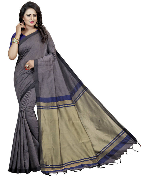 Muta Fashions Women's Unstitched Cotton Polyester Silk Blue Saree $ MUTA1468