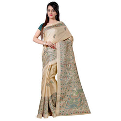16TO60TRENDZ Beige Color Printed Bhagalpuri Silk Saree $ SVT00513