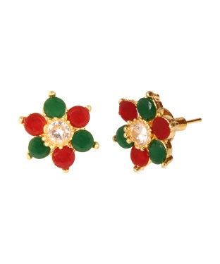 Adoreva Red Green White Gold Plated Bollywood Traditional Fashion Kudi Stud Earrings and Girls