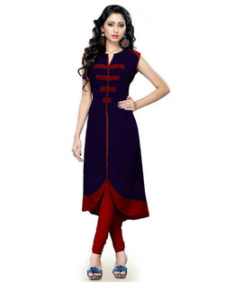 Muta Fashions Women's Semi Stitched Casual Cotton Blend Navy Blue Kurti $ KURTI48
