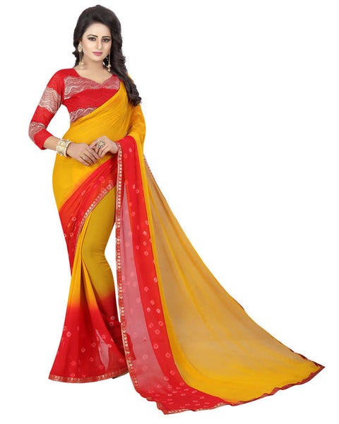 Muta Fashions Women's Unstitched Chiffon Red Saree $ MUTA1528