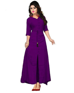 Muta Fashions Women's Stitched Casual Crepe Purple Kurti $ KURTI381