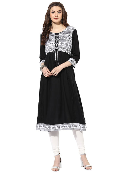 Mytri Women's Black Cambric Printed Anarkali Kurta $ 9000496-BLACK