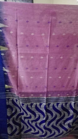 Festive Buzz Blue & Pink Cotton Handloom Sarees $ 1402