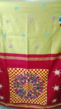 Festive Buzz Red & Mustard Cotton Handloom Sarees $ 1409