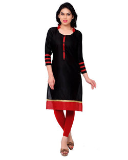 Muta Fashions Women's Semi Stitched Casual Cotton Black Kurti $ KURTI78
