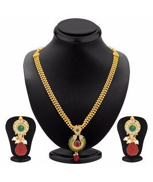 Sukkhi Glittery Gold Plated Necklace Set For Women