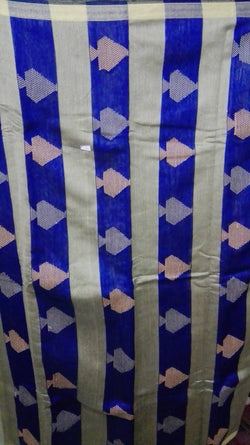 Festive Buzz Blue & Off White Cotton Handloom Sarees $ 1401