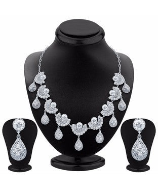 Sukkhi Cluster Rhodium Plated AD Necklace Set