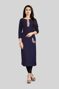 16TO60TRENDZ Navy Blue Rayon Patch Work Stiched long Kurti $ SVT00179