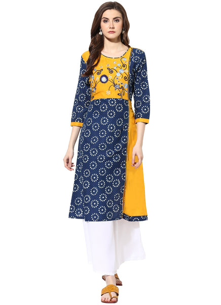 Mytri Women's Yellow & Blue Cambric Embroidered A-Line Kurta $ 9000499-YELLOWBLUE