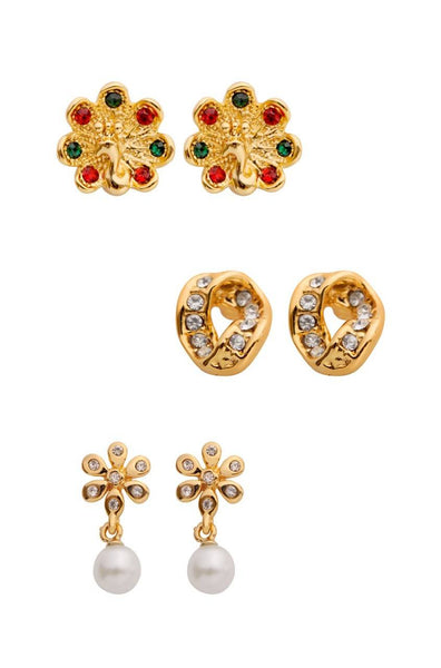 Bauble Burst Gold Trio Set Earrings