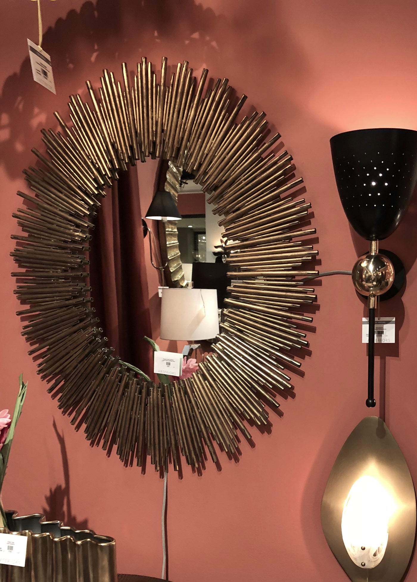 arteriors home prescott mirror gold showroo
