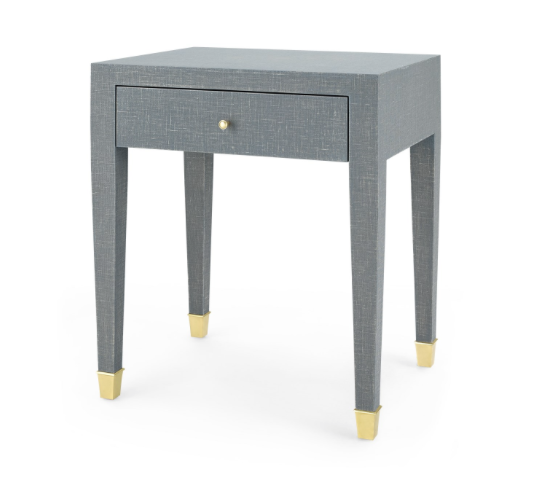 Claudette 1 Drawer Side Table Gray