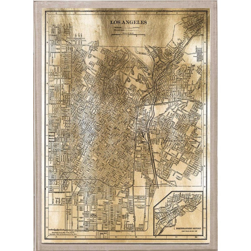 Currey And Company Balthazar: Natural Curiosities Gold City Map Artwork