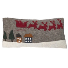 Hand Felted Wool Christmas Pillow Cover – Sleigh with Village – 12x24""