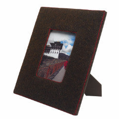 Felt Covered Frame in Chocolate with Red Stitching - Arcadia Home