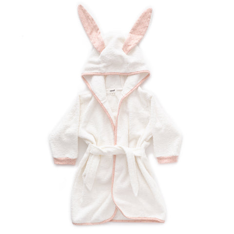 Hooded Robe-Light Pink/Rust Dots-12M-Oeuf LLC