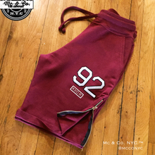 "Burgundy Signature Mc & Co. NYC ""92"" Embroidery Shorts"