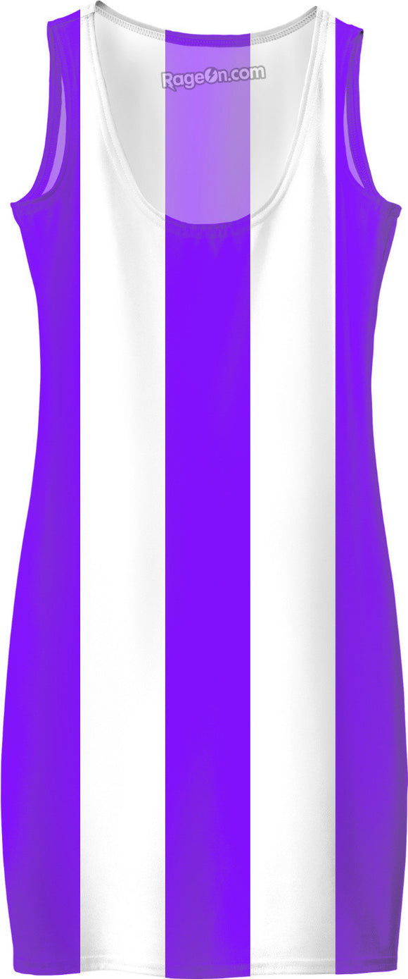 Thick Purple and white stripes pattern, violet line theme simple dress