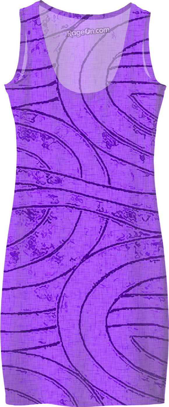Purple, violet spirals, lines, curves, abstract geometric labirynth design simple summer dress