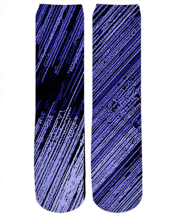 Line Art - The Scratch, blue stripes pattern, striped fabric canvas, background, asymetric design socks
