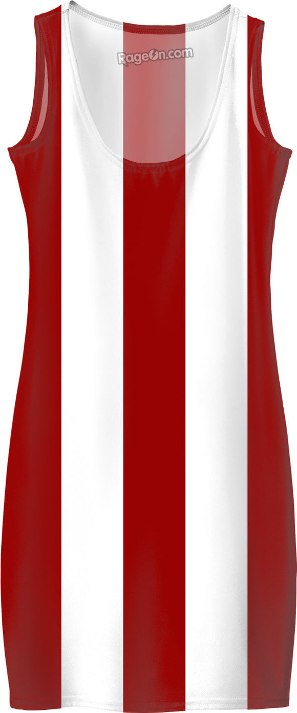 Thick red and white stripes pattern, scarlet lines theme simple dress